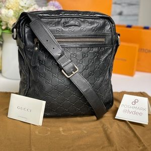 Authentic GUCCI leather Crossbody bag men/…